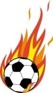 Flaming Soccer Ball as a graphic illustration