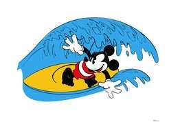Mickey Mouse Surfing drawing