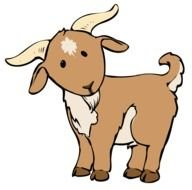 drawing of a brown goat with horns