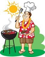 Man Grilling Hot Dogs Clip Art drawing