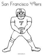 black and white drawing of an american football player with team name