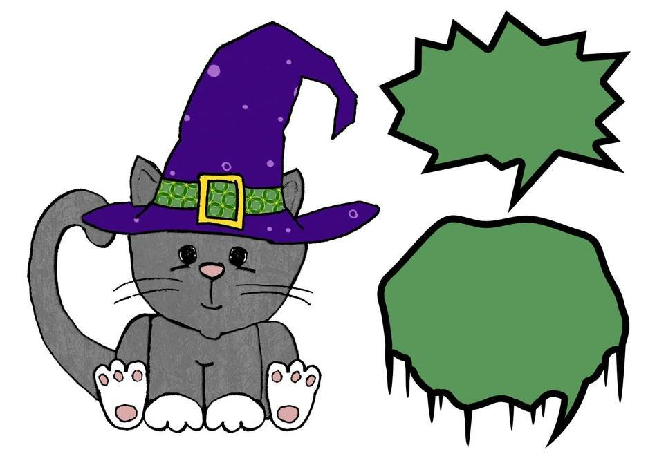 Cute Halloween cat darwing