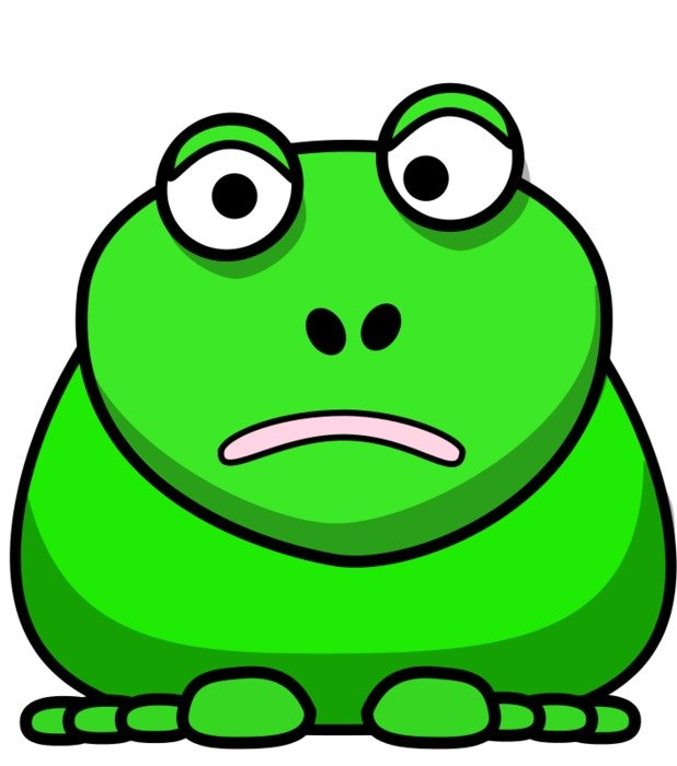 Green cartoon frog clipart