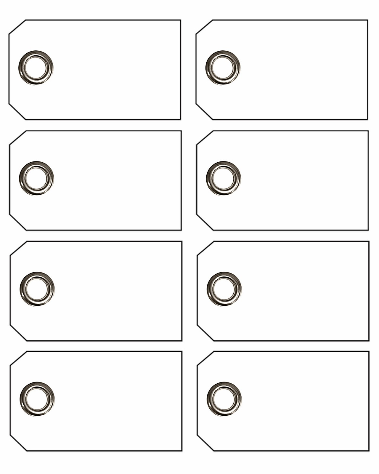 Eight Blank Gift Tags Outline Free Image