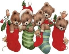 christmas gifts, teddy bears in socks