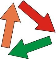 orange, red and green arrows on a white sheet