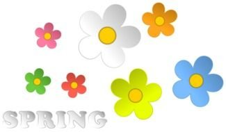 Spring colorful flowers clipart