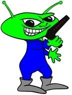 clipart of angry green alien as cartoon character