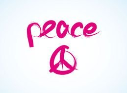 peace word with symbol