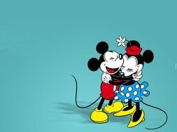 happy mickey and minnie mouse as graphic illustration