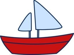 red and blue Sail Boat Clipart