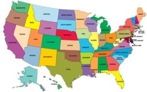 Big map of The States in The USA clipart