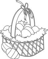 eggs in easter basket as a graphic illustration