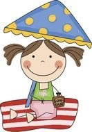 little girl under an umbrella as a graphic illustration
