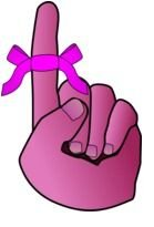 pink bow on a finger as a graphic illustration