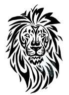 Clip art of Tribal Lion Head Tattoo design