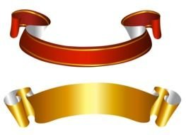Gold and red Ribbon Banner Clip Art