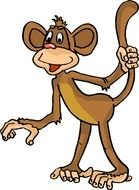 cartoon monkey with a raised tail on a white background