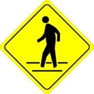yellow pedestrian crossing warning sign