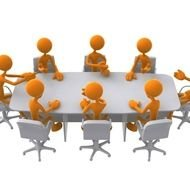 business meeting of people at the big table as a picture for clipart