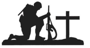 Kneeling Soldier Silhouette drawing