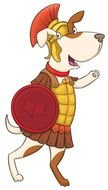 funny dog ​​warrior Clip Art