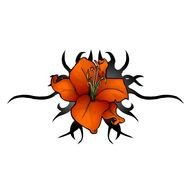 orange Lily Flower Tattoo drawing