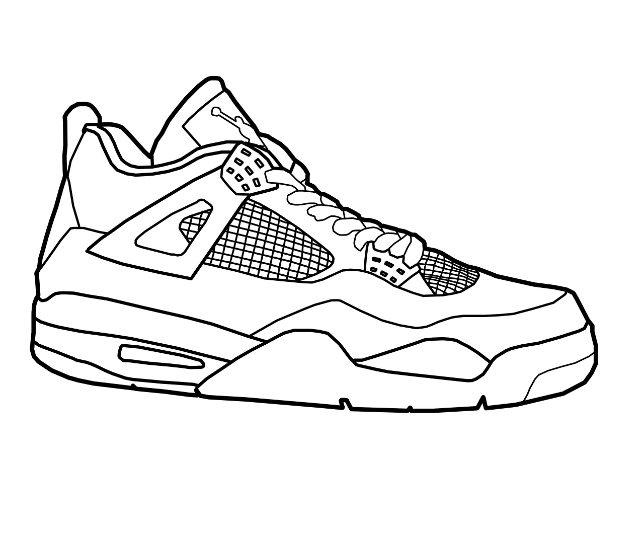 - Jordan 4 Shoes Coloring Pages Drawing Free Image