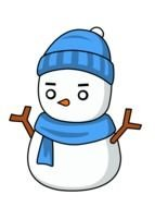 drawn snowman with a blue scarf and hat