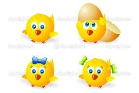 clipart with yellow chickens