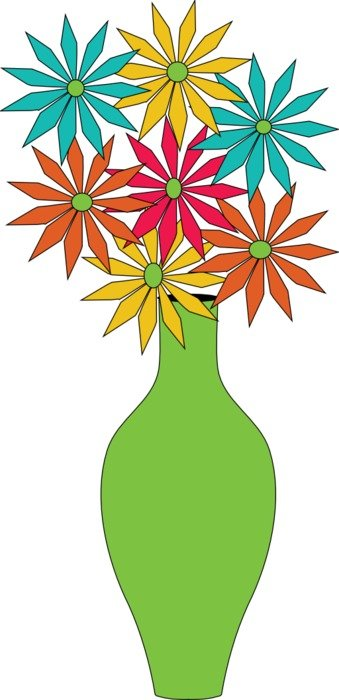 Colorful Flowers In The Green Vase Clipart