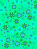 green blue flowers abstract