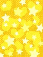 yellow background with stars and hearts pattern