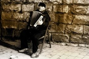 man accordion people music work