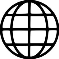 globe earth symbols black and white