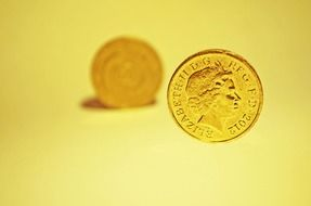 yellow background with coin