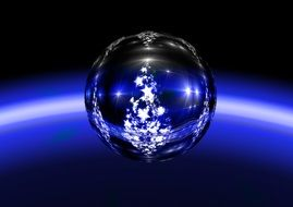 Blue Christmas ball with the image of spruce