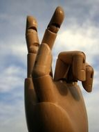 large sculpture wood hand fingers