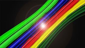 rainbow optic cables on a black background