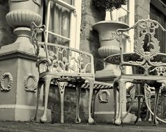 table chairs decorations terrace