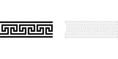 black white drawing greek meander ancient pattern