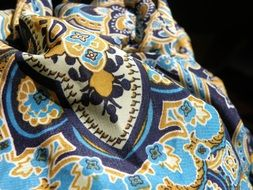 blue patterned fabric