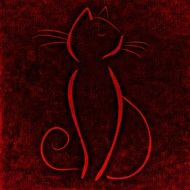 silhouette of a cat on a red background