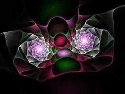 fractal pink green pattern on a black background