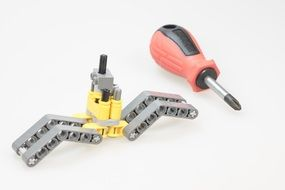screwdriver tool and detail of building kit