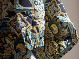 blue fabric with oriental pattern