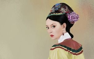 original woman dressed in a chineese national costume