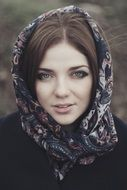 caucasian young girl in headscarf outdoor