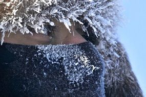 Close up portrait of woman in winter time