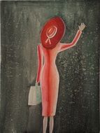 woman with a suitcase waving her hand
